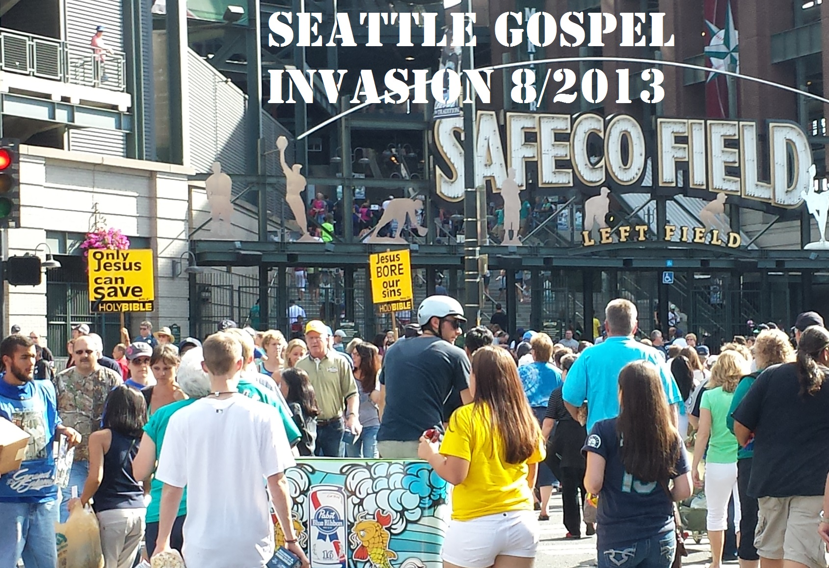 Holy Bible Sign Crew at Mariners Game August 2013